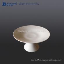 Plato de fruta de cerámica blanco de 6 pulgadas, placa de la fruta con el pie