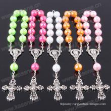 Pretty Cheap Small Round Acrylic Bead Red Cross Catholic Rosary Bracelet
