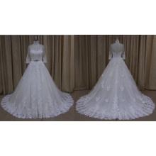 Vestido de novia de tren largo apliques de encaje medio manga