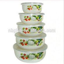5PCs professional enamel ice bowl /ice cream bowl with PE lid