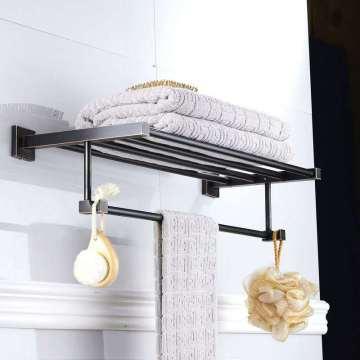 Accesorios de baño colgante negro bronce artesanal material de latón cuadrado hardware colgante toallero