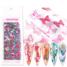 Wholesale Hot Sale Summer Colorful Butterfly Transparent Bottom Nail Transfer Sticker Tips 3D Nails Art Decorations For Lady