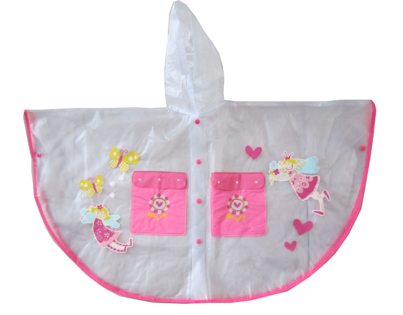 kids rain poncho with pocket