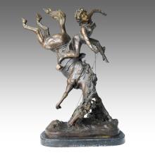 Soldados Figura Estatua Caballo Guerrero Bronce Escultura TPE-127