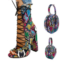 2021 Summer Fashion Women Shoe And Matching bags High Heel Snake Print Sandals Ankle Boot Shoes And Purse Full Set