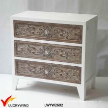 Blanco 3 cajones de madera maciza madera tallada a mano muebles