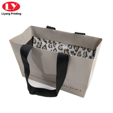 Grey Clothing Carry Paper Bags Mewah Black Logo