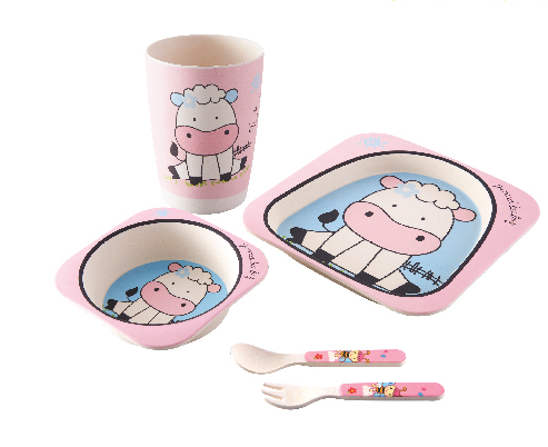 Children Dinner Set Kids Bamboo Powder Tableware