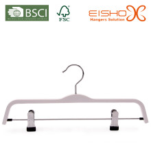 White Laminated Pant Hanger with Clips (pH027)