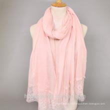 Moda musulmana al por mayor hijab musulmán moda chal bufanda musulmán mujeres viscosa perlas de encaje de algodón maxi hijab