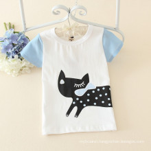 lovely children top clothing cat printing white t-shirt new boy and girl daily wear