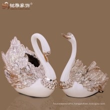 modern home decorative rose gold couple swan flower vase