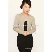 SFW-241 damas cardigans cuello redondo clásico 100% cashmere
