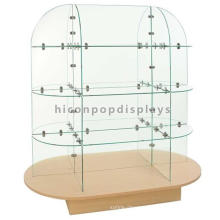 New Clothing Display Idea Wood Base Floorstanding Garment Display Glass Rack Stand For Clothes Store