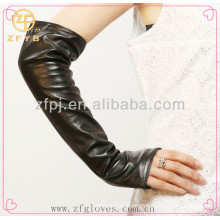 Custom Lady Party Dress Long Leather Fingerless gloves
