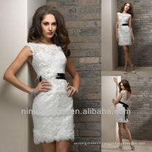 White Feather Details Bateau Mini Short Black Sash Lace Wedding Dresses Bridal Gowns