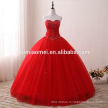 Vestido de boda musulmán rojo del hombro del nuevo color rojo del vestido de boda del corazón del color de la manera 2017 para el vestido nupcial