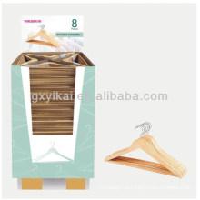 Baratos promocionais cor natural camisa cabide de madeira