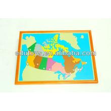 Montessori-Fabrik - Kanada-Puzzlespiel-Karte mit BEECHWOOD-RAHMEN