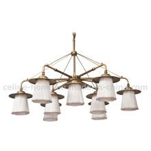 Lustre Light in White Fabric Lampe Bronze Ancienne (SL2155-6 + 3)
