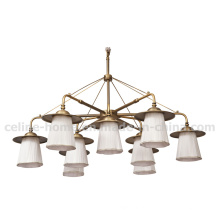 Luz do candelabro em tecido branco lâmpada de bronze antigo (SL2155-6 + 3)
