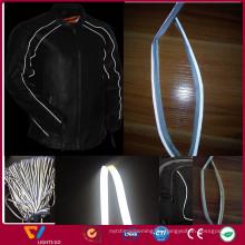 Farbhohe Sichtbarkeit Polyester Stretch Retro reflektierende Gewebe Paspeln Band für Kleidung