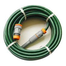 Manguera de jardín de PVC reforzado resistente a UV de 15m (50′) con hilo de poliéster