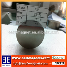 N35 Nickle plated D50*20mm big disc neodymium magnet custom-made/N35 big size rare earth magnet for industry