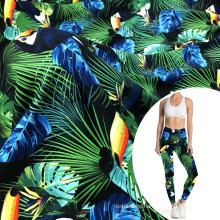 digital printed parrots sweat absorption cotton like sports polyamide lycra fabric for fitness