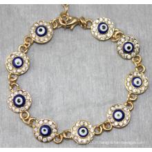 Bracelet en forme de diamant rond avec des yeux maléfiques (XBL13492)