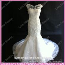 RP0090 Casaco manga vestido de noiva real sereia organza rendas rebordeado vestido de casamento appliqued muito sexy sereia casamento noite vestidos