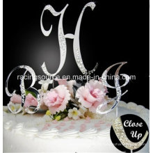 Letra delantera francesa cristalina de A a Z Monopatín parcial de la torta de boda de Diamantee