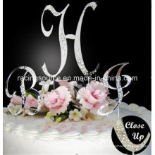 Crystal French Front Letter a to Z Monogram Partial Diamantee Wedding Cake Topper