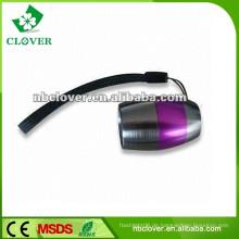 Ein / Aus-Taste Schalter Ei-Form Aluminium LED-Taschenlampe mit Gurt