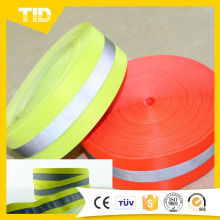 Silver Reflective Strip Sew On Fluorescent Lime Yellow Flame Resistant Tape