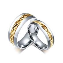 Barato gravado promessa casais anéis para ela, prata e anéis de ouro jóias