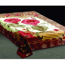 various flowers print & carved cheap polyester blanket
