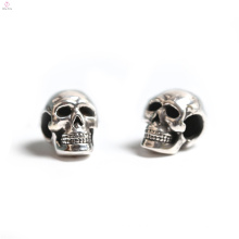 Venta al por mayor Head Bone 3D Silver Sennit Pulsera DIY Bead Jewelry Skull Charm