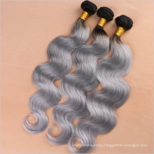 New Fashion! New Premium ! Ombre Color Dark Root Black to Grey hair extension