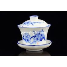 Popular Blue Plum Blossom conjuntos de xícara de chá e pires atacado