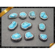 Bijoux fantaisie Perle en pierre avec cristal, Perles semi-fines pierres en vrac Vente en gros perle strass, perles turquoise (EF0114)