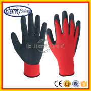 Hands protector black/red color latex form latex coating glove
