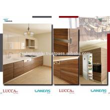 NOVO ARRIVAL AFFORDABLE Gabinete de cozinha com porta pvc Projeto de alças de alumínio integrado e invisível