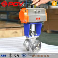 O ISO flangeou V tipo válvula de bola pneumática DN150