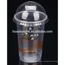 Tasses de smoothie jetables en plastique jetables en plastique 16oz de qualité comestible de prix usine avec des couvercles pour la vente en gros