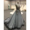 Alça de flor por atacado elegante sem mangas preto sem encosto 2018 vestidos de noite