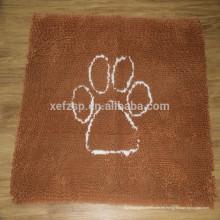 estera del cuenco del animal doméstico del perro del chenille de la microfibra, estera del alimento para mascotas del microfibra