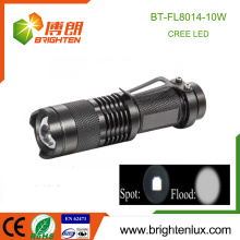 Factory Supply Super Bright Pocket Dimming Focus Tactical 5 mode light 10W CREE LED Petite lampe de poche rechargeable avec Strobe