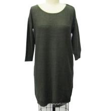Женщины трикотажные круглые шею с длинным рукавом платья свитер