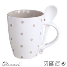 Tasse en céramique de 11oz avec la conception de points de cuillère